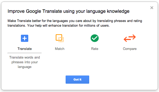 Google Translate Help us improve