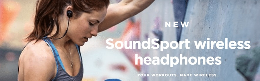 Bose SoundSport headphones design is in-ear but comes with an added plus of StayHear+ design