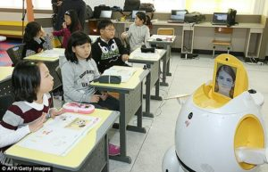 Robot teacher Droid with human face