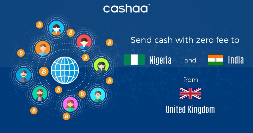 cashaa send money blockchain